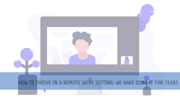 remote working man on a desktop screen on a conference call with female professional